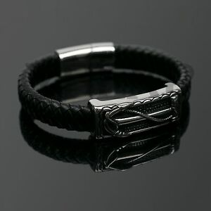 Men's Stainless Steel Leather Bracelet Silver Charm Magnetic Clasp Bangle
