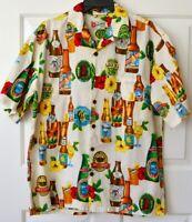 Hilo Hattie Mens L Hawaiian Shirt Beer Pale Ale Golden Stout Tiki Surf n Sun