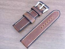 24x24mm Stitched Submariner Choco Calf Leather Strap bsh marina Parnis militare