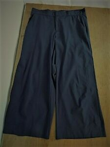Athleta Women's Cropped Front Zip Relaxed Waist Wide Leg with snaps Sz 8 Navy