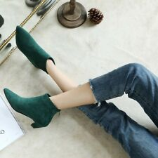 Women Pointy Toe Ankle Boots Suede Kitten Heels Solid Plus Size Pump Court Shoes