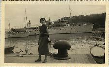 Vintage old photo-snapshot-monaco boat woman fashion elegance-boat