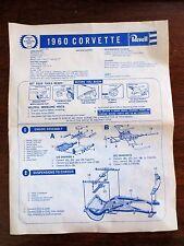 1960 Chevrolet Corvette Revell Plastic Model Kit Toy Assembly Instruction Sheet