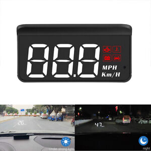 Large Font Car OBD2 Head Up Display HUD Speedometer Odometer Overspeed Alarm MPH