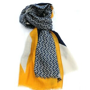 Diamond Print Yellow Blue Womens Fashion Scarf