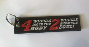 2 WHEELS MOVE THE SOUL Motorcycle Jet Tag Embroidered Key Ring Keyring Keychain