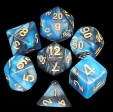 New 7 Piece Black Blue Gemini Polyhedral Dice Set – Blue Bag – RPG D&D