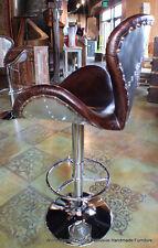 Cool modern Leather bar stool seat vintage cigar brown chrome swivel adjust
