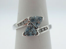Natural Blue TRILLION Aquamarines Diamonds Solid 14K White Gold Ring FREE Sizing