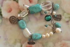 Silpada Sterling Silver Pearl Turquoise Charm Bracelet Best Friend Conference