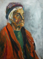 Vintage expressionist oil painting lady portrait
