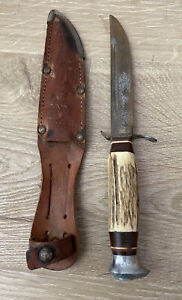 Vintage EDGE BRAND Solingen Germany #461 Hunting Knife Stag Handle Sheath As-Is