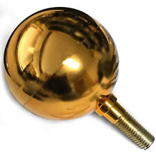 "GOLD BALL - Sectional Flagpole Ball Ornament 3in Dia. 1/2"" Thread Finial Topper"