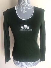 Women Jumper Size 8 Dark Green White Embroidery Long Sleeved Lightweight