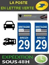 2 AUTOCOLLANT PLAQUE IMMATRICULATION DEPARTEMENT 29 LOGO REGION DRAPEAU BRETAGNE