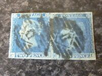 GB QV POSTAGE STAMP SG13/15 PAIR TWO PENCE BLUE FINE-USED