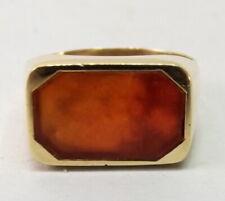 Vtg 14K Gold Carnelian Signet Ring Sz 8.75 Art Deco Seal Antique Intaglio Ready