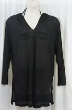 J. Valdi Cover Up Sz M Black Hooded Ribbed Long Sleeve Tunic Swim Cover 27603M