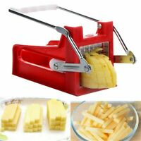 Potato Chipper Manual French Fries  Slicer Chip Cutter Maker Chopper 2 Blades a