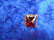 Noble, gr. anillo __ 925 plata __ con piedra roja _ biselado __ señores anillo