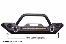 JEEP WRANGLER JK Front Bumper 07-17 Rock Crawler +Built-In LED LIGHTS 2X45 1X90W