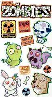 ANIMAL ZOMBIES Halloween - Sticko Stickopotamus Scrapbooking Craft Sticker Sheet