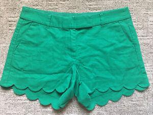 """J. Crew Women's 4"""" Linen Blend Scalloped Hem Shorts Size 8 Green"""