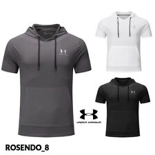 Under Armour Mens Short Sleeve Hooded Sport T Shirt Summer Sportswear Top Blouse