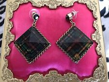 Betsey Johnson Vintage Green Plaid Lucite Block Pyramid Spike Gold Earrings