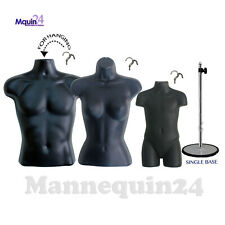Set of Male Female Child Toddler Torso Forms with 3 Hangers & 1 Stand Black Form