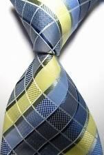 New Classic Checks Blue Beige White JACQUARD WOVEN 100% Silk Men's Tie Necktie