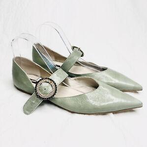 Zara Basic Size 41 Green Sandals Embellished Buckle Vintage Style Pointed Toe