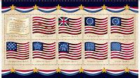 "Fabric USA Flag Panel Long May She Wave on Cotton 24""x44"""