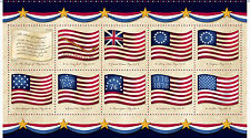 "Fabric USA Flag Panel Long May She Wave on Cotton 24""x44"""