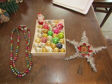 Vtg Christmas Feather Tree Mercury Glass Bead Garland Ornaments Santa and Topper