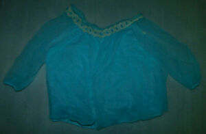 Vintage Blue Sheer Lace Negligee Sleep Top 3/4 Sleeve Women Chemise L 38-40