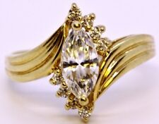 QVC 14K Solid Yellow Gold Marquise Diamonique CZ Bypass Engagement Ring Size 8.5