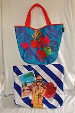 Pair Lancome Totes Shopping Bags Beach Bags Bright Colorful Nylon Fabric Floral