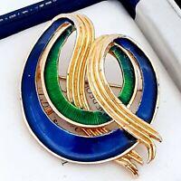 A Very Lovely 1980s Blue & Green Enamel Goldtone SPHINX Brooch Pin