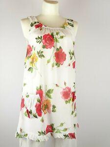 Tunika Strand Kleid Lagenlook weiß bunt Blumen Größe 40-46 one Size Träger