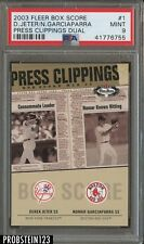 2003 Fleer Box Score Press Clipping Dual Derek Jeter /25 PSA 9 POP 1 NONE HIGHER