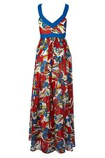 FCUK FRENCH CONNECTION Maxi Dress long UK 8 NEW BLUE & RED hippie BEACH SURF