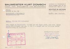 NEUSTADT, Brief 1960, Baumeister Kurt Domsch  Hoch-Tief-Stahlbeton-Brückenbau