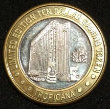 TROPICANA LIMITED EDITION $10 GAMING TOKEN COIN MEDAL CASINO CHIP .999 SILVER