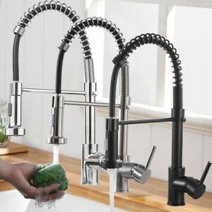 Miscelatore rubinetto lavello cucina con doccetta monocomando canna alta ottone