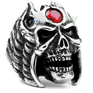 Men's Stainless Steel Ruby Red CZ Gothic Skull Ring Vampire Bat devil in angel