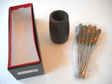 Chrissy Fondue Forks Set Of Ten New In Box Wood Handles And Stand