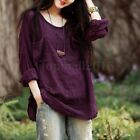 Vintage Women Long Sleeve Cotton Oversize Baggy Loose Casual Tops Blouse T-Shirt