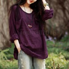 Vintage Women Long Sleeve Cotton Oversize Baggy Loose Casual Tops Blouse T-shirt Purple Mori Girls Ladies Cape Cover up AU 22