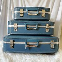 Vintage Blue Nesting Stacking Luggage 3 Pc Set Suitcase Mid Century Hard Case